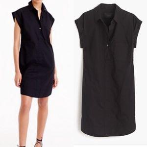 J.Crew Black Cotton Short Sleeve Shirt Dress XXS